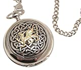 Solid pewter fronted mechanical skeleton pocket watch Two Tone celtic knot with dragon design 59