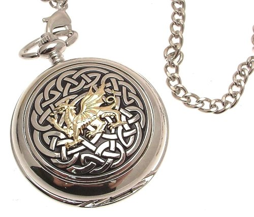 Solid pewter fronted mechanical skeleton pocket watch Two Tone celtic knot with dragon design (Celtic Design Watch)