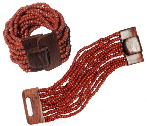 "Maroon 14 Strand Elastic Stretchy Glass Beaded Bracelet With Wooden Buckle Clasp – 2"" Wide"
