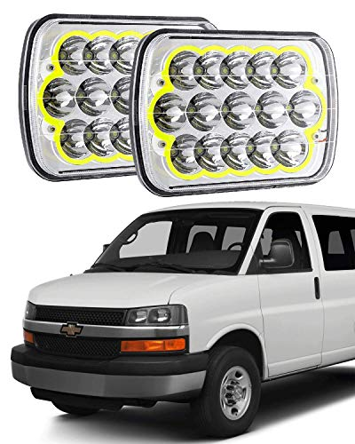 IRONWALLS 2pcs 7X6 Inch H4 LED Square Headlight Projector High Low Sealed Beam Headlamp for Chevy Express Cargo Van 1500 2500 3500 ()