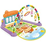 Anself Baby Activity Gym Kick and Play Piano Mat Center with Melodies Rattle Musical Toy Tummy Time Mat for Infant Toddler Boy Girl 0-36 Months