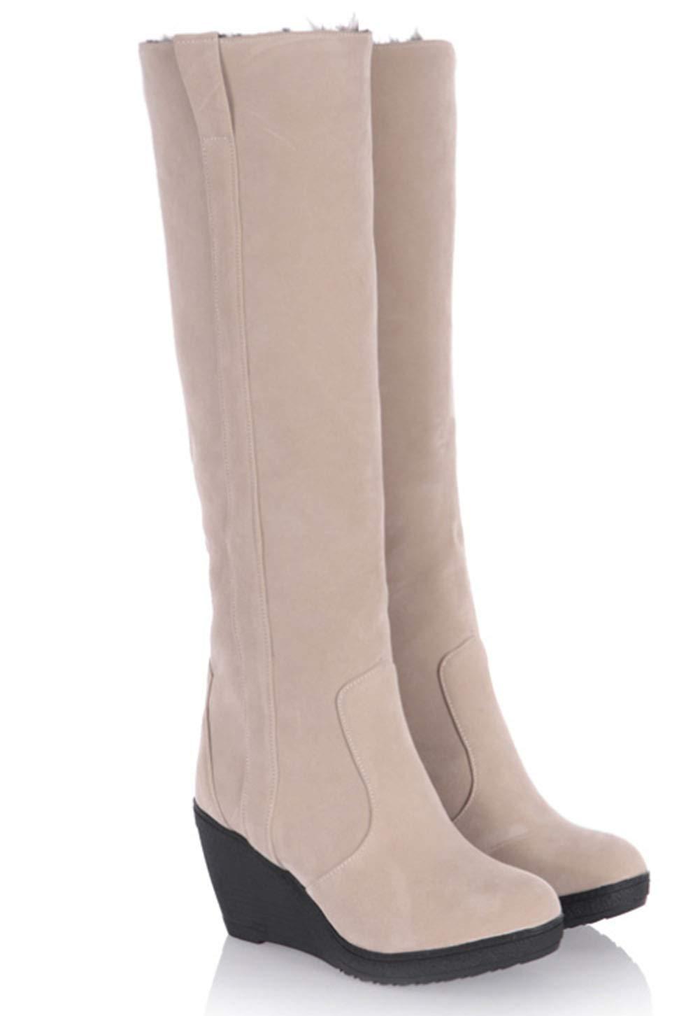 HRN Frauen Schnee Stiefel Frosted runde Kopf Keile Keile Keile Ferse Baumwolle Stiefel verdickung Fleece gefüttert schlanke Mode Pelz Schuhe Winter,ApricotFarbe,39EU 1e92e2