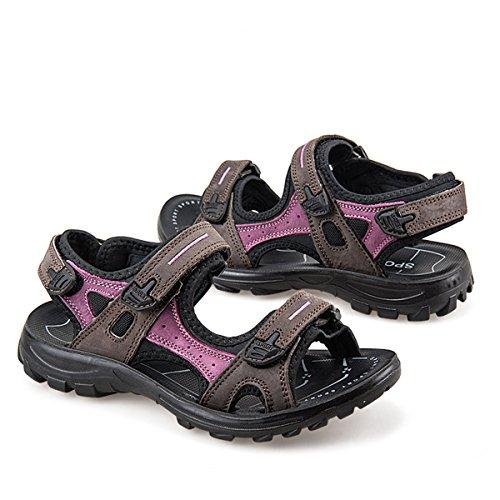 Libre Sandalias Gracosy Marrón Trekking Verano Al 2 Para Calzado Deportivas Confort Antideslizante Cuero Mujer Aire Ligera Zapatos Velcro Playa Plana Senderismo De d8nq8xr