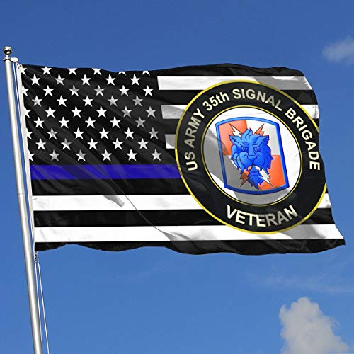 QphonesFlag Thin Blue Line US Army 35th Signal Brigade Veteran Flag 3x5-Flags 90x150CM-Banner 3'x5' FT