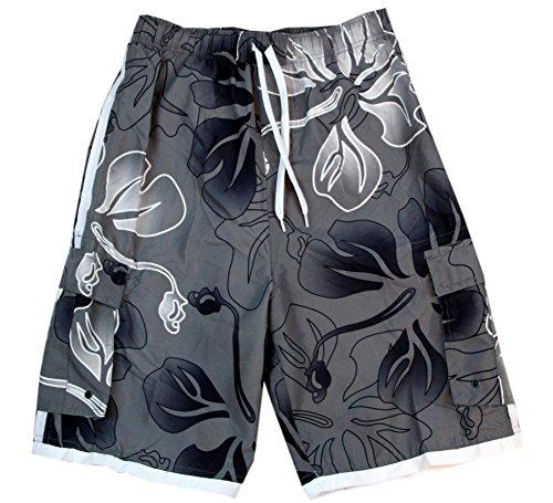 - Palm Wave Men's Swim Trunk in Gray Hibiscus XL