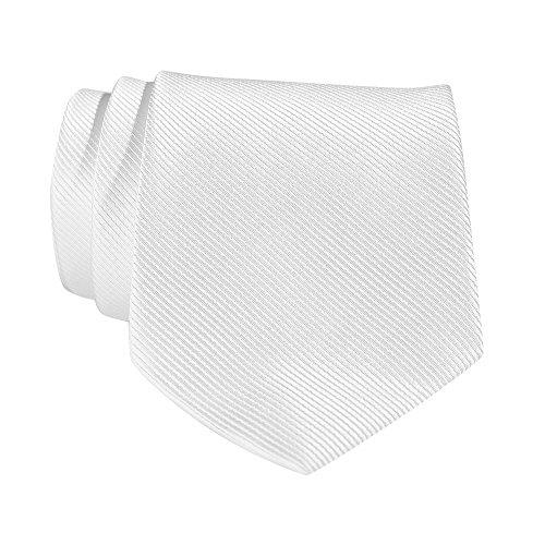 (QBSM Mens White Solid Color Neckties Polyester Formal Dress Suit Neck Ties for Father's Day Gifts)