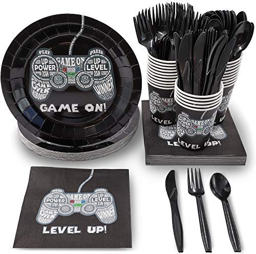Juvale 144 Piece Video Game Party Supplies (Serves 24) Boys Gamer Birthday Plates, Napkins, Cups and Cutlery