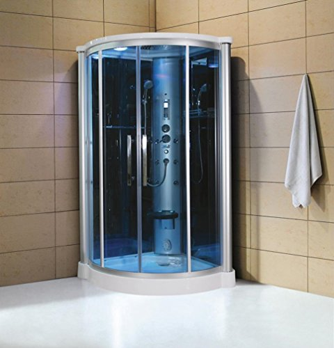 "Eagle Bath WS801L 42"" Eagle Bath WS-801L Steam Shower Enclosure Unit with 6 mm Tempered Blue Glass Temperature Sensor Storage Shelves Fold-up Seats and Amazon Rainfall Ceiling Shower in"