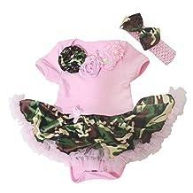 Baby Dress Neck Rose Pink Bodysuit Camouflage Tutu Romper Nb-18m (0-3 Month)