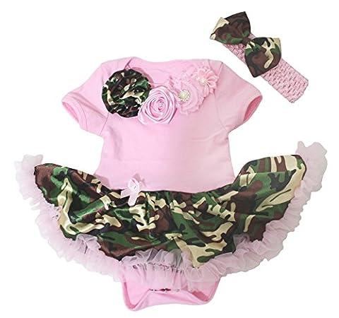 Baby Dress Neck Rose Pink Bodysuit Camouflage Tutu Romper Nb-18m (6-12 Months) - Girls In Camo