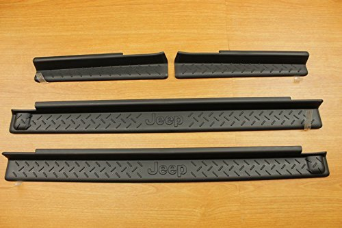 Jeep Wrangler 4-Door Sill Guards Black Plastic Mopar OEM 82210106