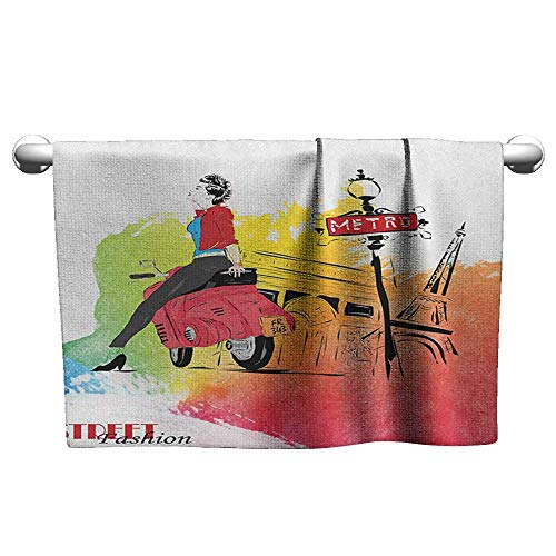 (Tankcsard Cute Hand Towels Girls,Woman on a Pink Motorcycle Trend Vogue Fashion in Paris Eiffel Tower Art Print, Red and Orange,Rustic Towel Racks for)