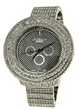 Totally Iced Out Pave Silver Tone Hip Hop Men's Bling Bing Watch-Over Size
