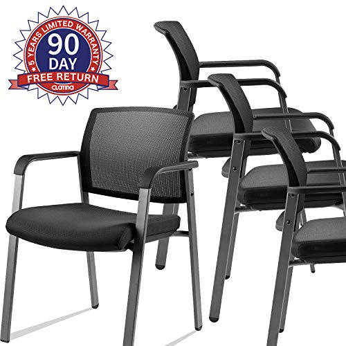 Mesh Back Stack Arm Chairs with Upholstered Fabric Seat and Ergonomic Lumber Support for Office School Church Guest Reception Black 4 Pack Set New Version (Reception Office Sets Furniture)