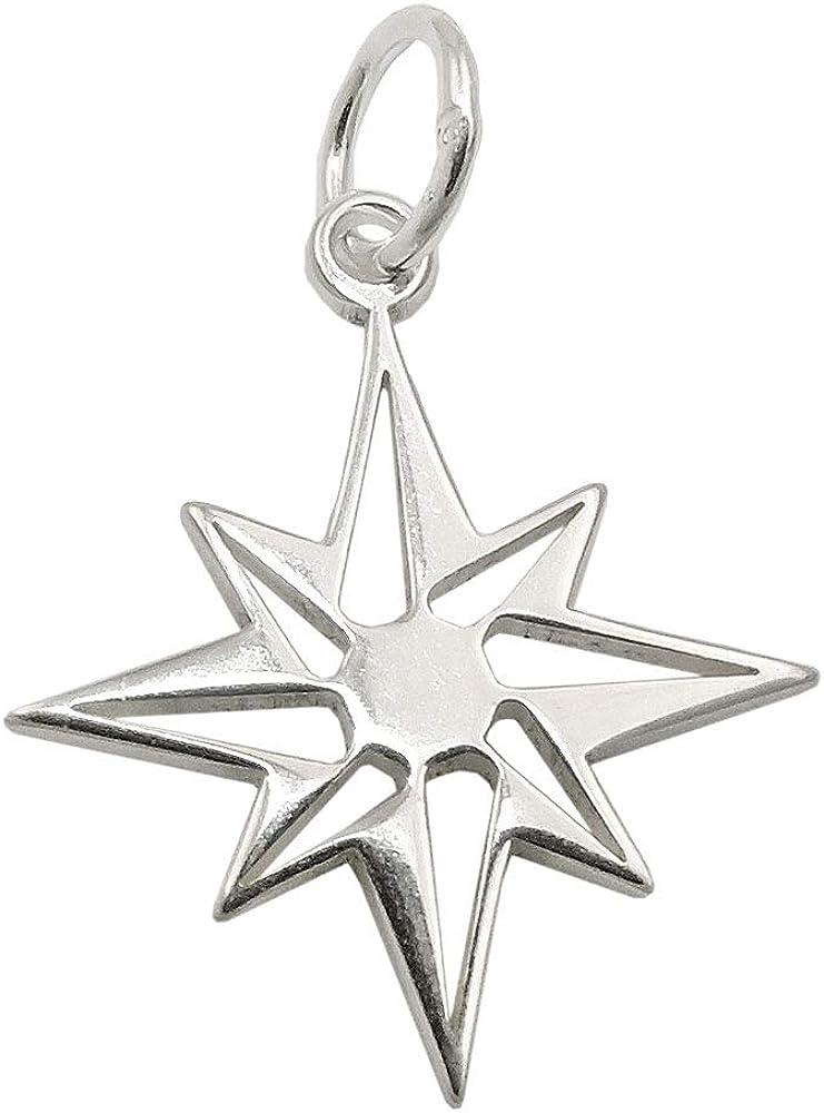 Colgante estrella brújula plata 925 rosa viento