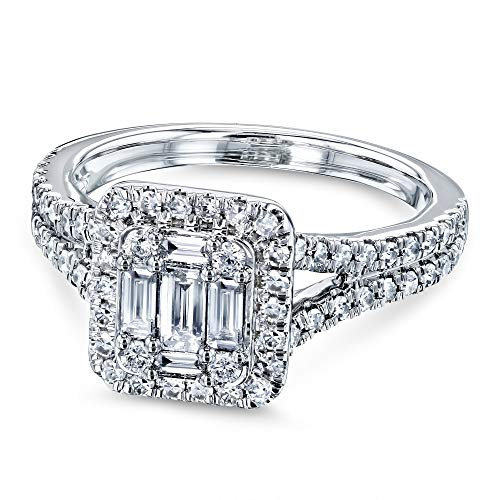 3/4 Carat TDW Diamond Rectangular Baguette Cluster Halo Split Shank Engagement Ring 10k White Gold, 6.5 ()