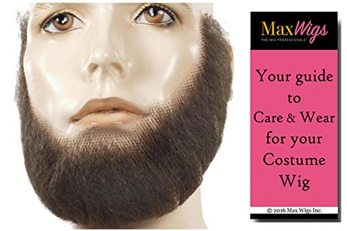 [Bundle 2 items: M55 Discount Full Face Men's Beard Synthetic Lace Backed Hand-Made Fake Facial Lacey Wigs Color Light Brown Grey, MaxWigs Costume Wig Care Guide] (Full Beard And Mustache Grey)