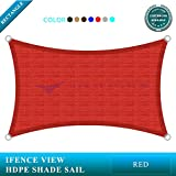 Ifenceview 12'x14' Rectangle UV Sun Shade Sail for Patio Yard Driveway Canopy Awning Outdoor facility (Red)