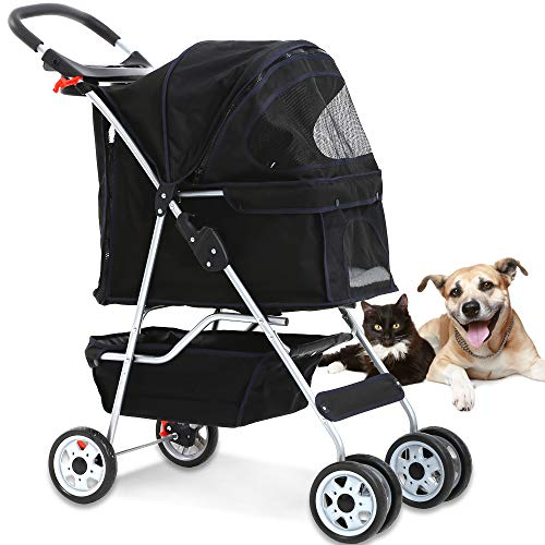 4 Wheels Pet Stroller Cat Dog Cage Stroller Travel Folding Carrier with Cup Holders and Removable Liner for Small-Medium Dog, Cat (Black)