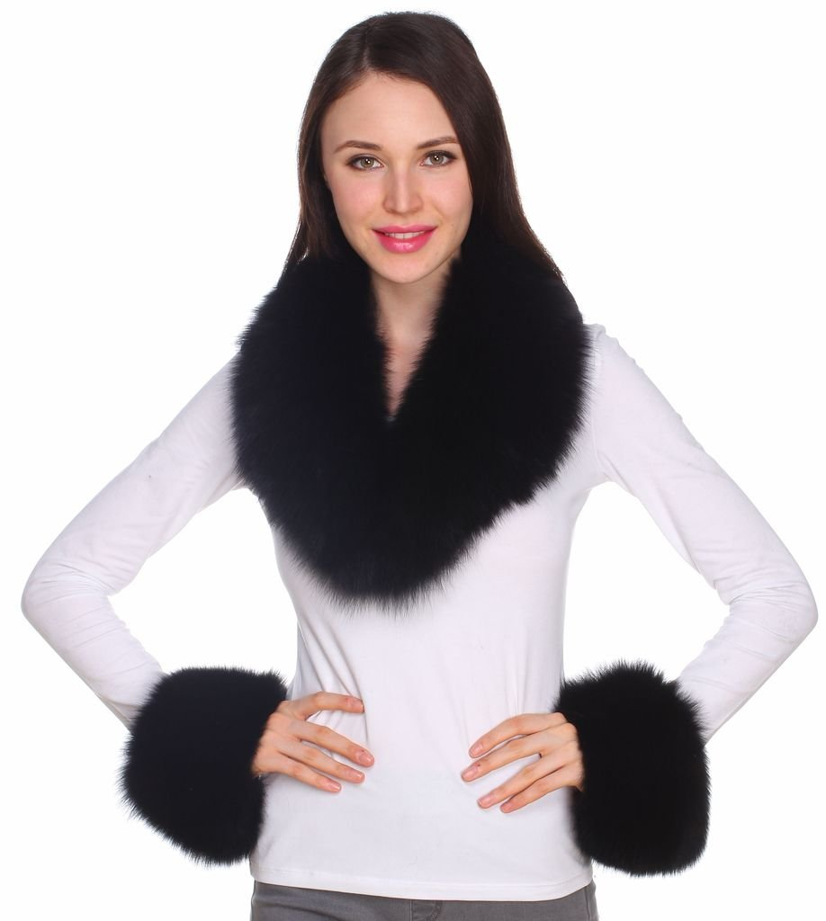 Ferand Women's Gorgeous Genuine Black Fox Fur Shawl Collar with Matching Cuffs for Parka Leather Jacket Winter Coat,31.5 inch