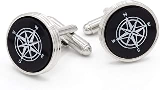 product image for JJ Weston Compass Rose Engraved on Onyx Cufflinks. Made in The USA