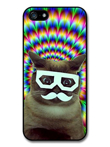 Funny Cat with Glasses Moustache And Trippy Background case for iPhone 5 5S