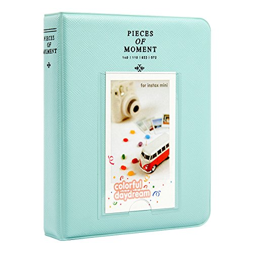 [Fujifilm Instax Mini Photo Album] Woodmin 64 Pockets Polaroid Photo Album for 3 inch Pictures by Fujifilm Instax Mini 8 8+ Mini 9, Snap, Zip, Z2300, Bank Card (Ice Blue) (32 Piece Display)