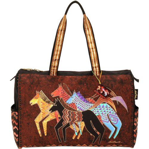 - Laurel Burch Travel Bag Zipper Top 20-1/2-Inch by 8, 1/4-Inch by 16-Inch, Native Horses