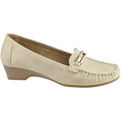 Amblers Ladies Casual Slip On Moccasin Style Shoe Brown