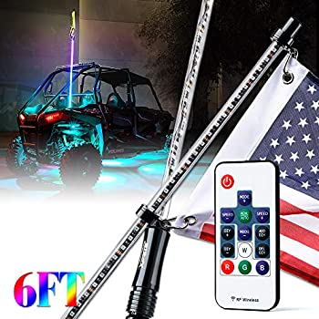 Xprite 6ft (1.8M) Remote Controlled RGB LED Whip Light Waterproof Flag Pole Safety Antenna with Multi-Color Chasing Dancing Light for Offroad Jeep, ...