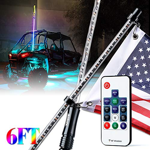(Xprite 6ft (1.8M) Remote Controlled RGB LED Whip Light Waterproof Flag Pole Safety Antenna with Multi-Color Chasing Dancing Light for Offroad Jeep, Buggy Dunes, ATV, UTV, Polaris RZR,Trucks, SXS )
