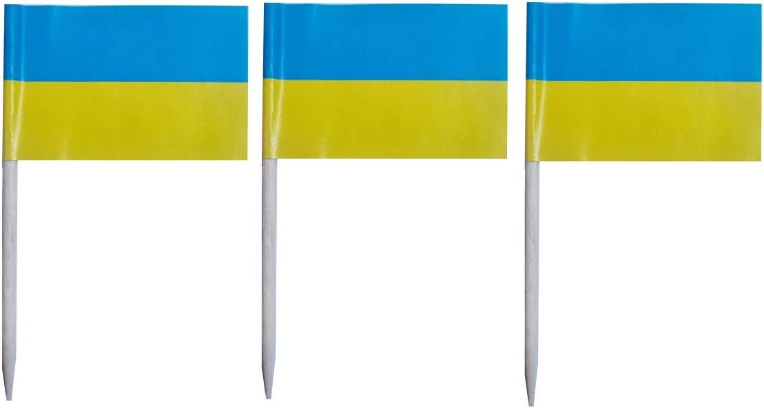 JAVD CYPS 100 Pcs Ukraine Flag Ukrainians Toothpick Flags, Small Mini Stick Cupcake Toppers Ukrainians Flags,Country Picks Party Decoration Celebration Cocktail Food Bar Cake Flags