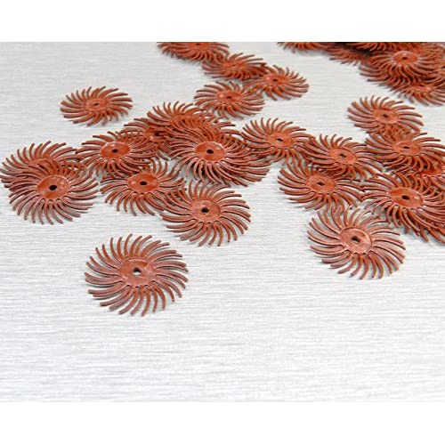 """3M Radial Bristle Discs 220 Grit Red 3M Mini Radial Brushes 3//4/"""" Pack of 48"""