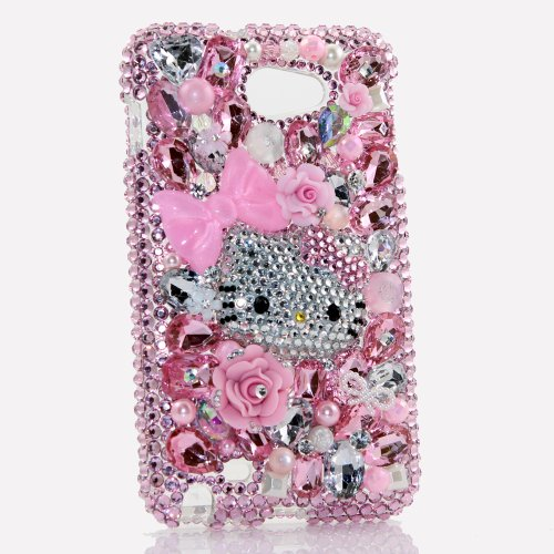 Samsung Note 2 Luxury 3D Bling Case - Gorgeous Hello Kitty Pink Rose Sweet Dream Design - Swarovski Crystal Diamond Sparkle Girly Protective Cover Faceplate (100% Handcrafted By Star33mall)