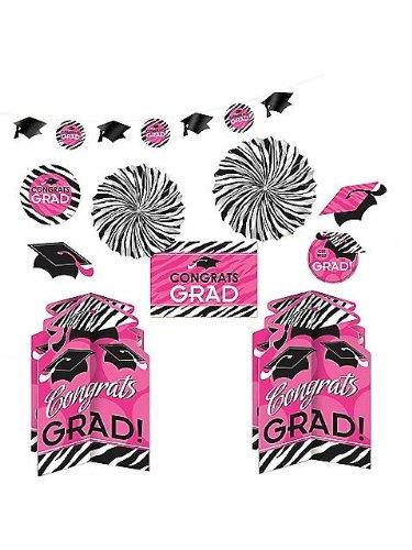 Amscan Pink Zebra Grad Decorating Kit (Each) ()