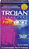 Trojan Condom Pleasures Fire and Ice Dual Action Lubricant, 10 Count Pack of 12