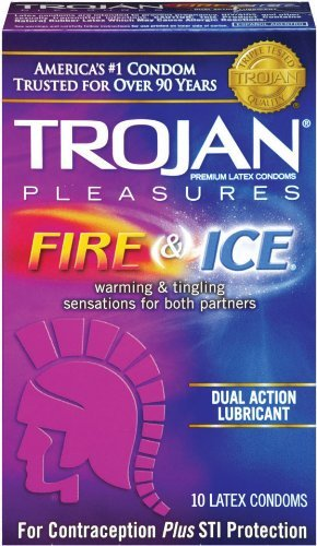 Trojan Condom Pleasures Fire and Ice Dual Action Lubricant, 10 Count Pack of 12 by Trojan Condoms