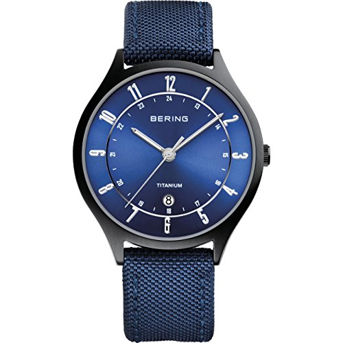 BERING 11739-827 Men's Watch Classic Brushed Black Titanium Blue Sunray Dial
