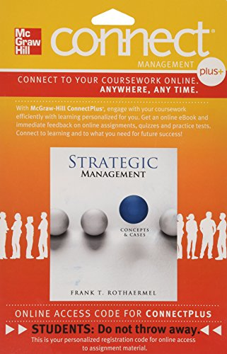 Connect Plus  Strategic Managment   Concepts   Cases  Access Card 1 Semester