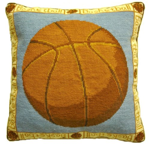 Deluxe Pillows Basket Ball - 16 x 16 inces needlepoint pillow by Deluxe Pillows