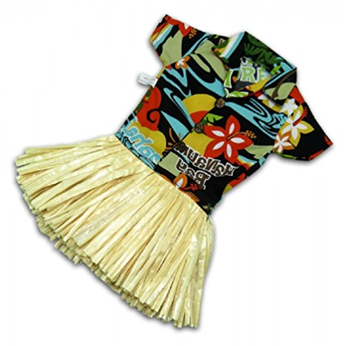 Traditional Aloha Hawaiian Shirt in Black with Straw Hula Skirt Wine Bottle Cover