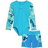 Tuga Girls 1-PC Swimsuit & Swim Short Set (UPF 50+), Ocean, 8/10 yrs