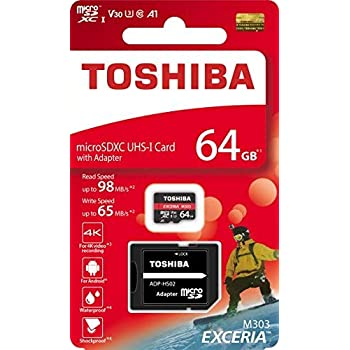 TOSHIBA Micro SD Card Memory Card 64GB 64G EXCERIA M303 with SD Adapter microSDXC UHS-I U3 Card 4K Class10 V30 A1 microSD Read 98MB/s Write 65MB/s ...