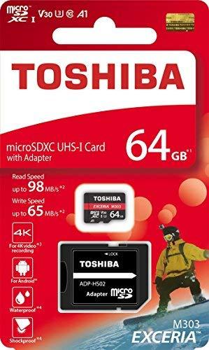 TOSHIBA Micro SD Card Memory Card 64GB 64G EXCERIA M303 with SD Adapter microSDXC UHS-I U3 Card 4K Class10 V30 A1 microSD Read 98MB/s Write 65MB/s (THN-M303R0640A2) (Toshiba Sd)