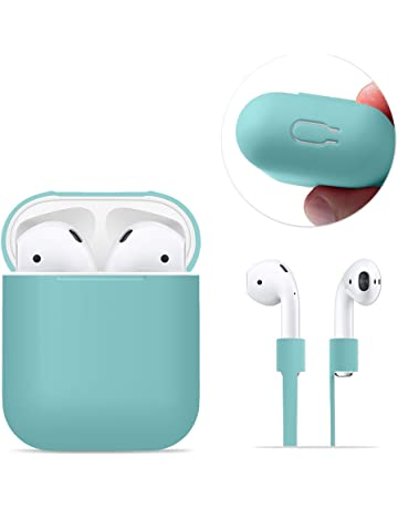 AirPods Case Protective, FRTMA Silicone Skin Case with Sport Strap for Apple AirPods, Ice