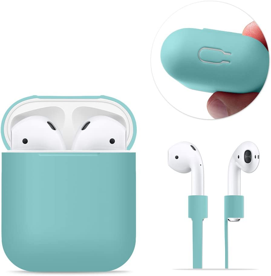 AirPods Case Protective, FRTMA Silicone Skin Case with Sport Strap for Apple AirPods (Ice Sea Blue)