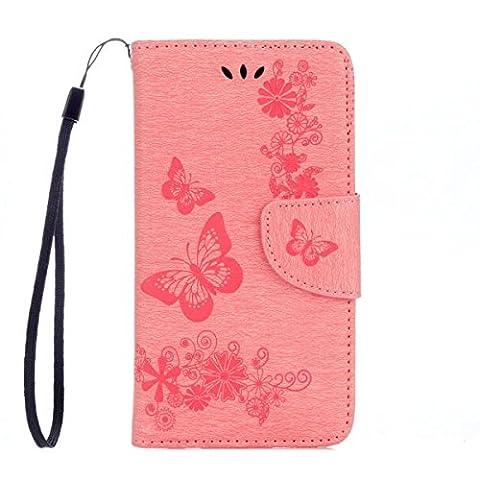 Galaxy J3 Emerge Wallet Case,ARSUE Butterfly Flower PU Leather Flip Folio Kickstand Wallet Case with Card Slots for Samsung J3 Emerge / J3 2017 / Amp Prime 2 / J3 Prime / Express Prime - Studded Revolution