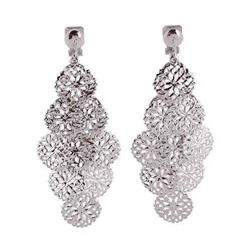 (Grace Jun New Handmade Multi-layer Dangle Drop Earrings and Clip on Earrings No Pierced for Women (362Silver Clip-on))