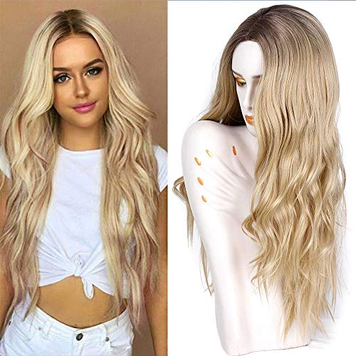 AISI QUEENS Synthetic Ombre Ash Blonde Wig Long Curly Wavy Wig 28 Inch Middle Part Wig for Women 2 Tone Blonde Wig Full Curly Cosplay Wigs