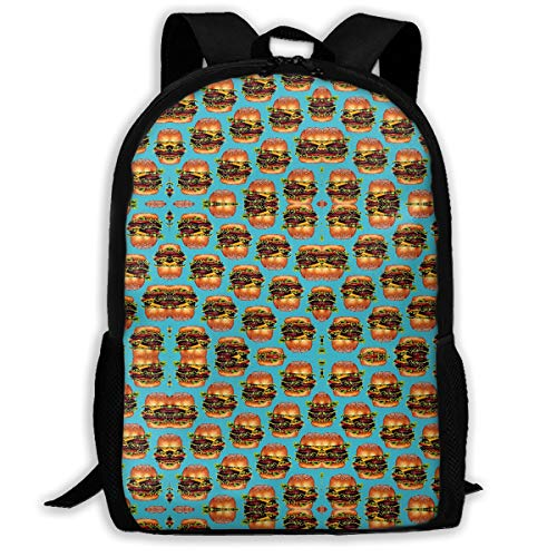 (FBHA Travel Backpack Laptop Backpack Large Diaper Bag - Double Cheeseburger Hamburger Backpack School Backpack for Women & Men)